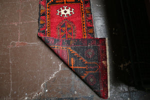 Old Mini Turkish Rug 1.7x4.2ft