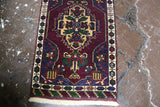 Old Mini Turkish Rug 1.10ftx3.4ft