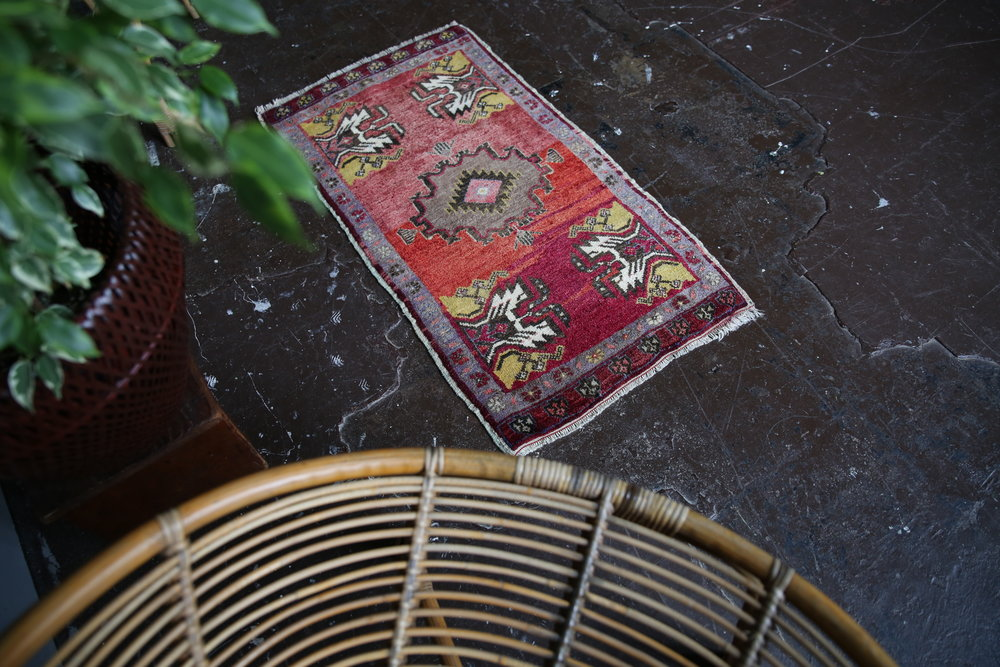 Vintage Mini Turkish Rug 1.9x3.3ft