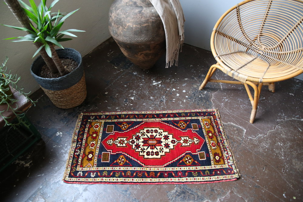 Old Mini Turkish Rug 1.10x3.7ft