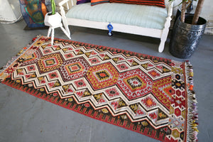 Old Oushak Esme Kilim 3.7ftx7.9ft
