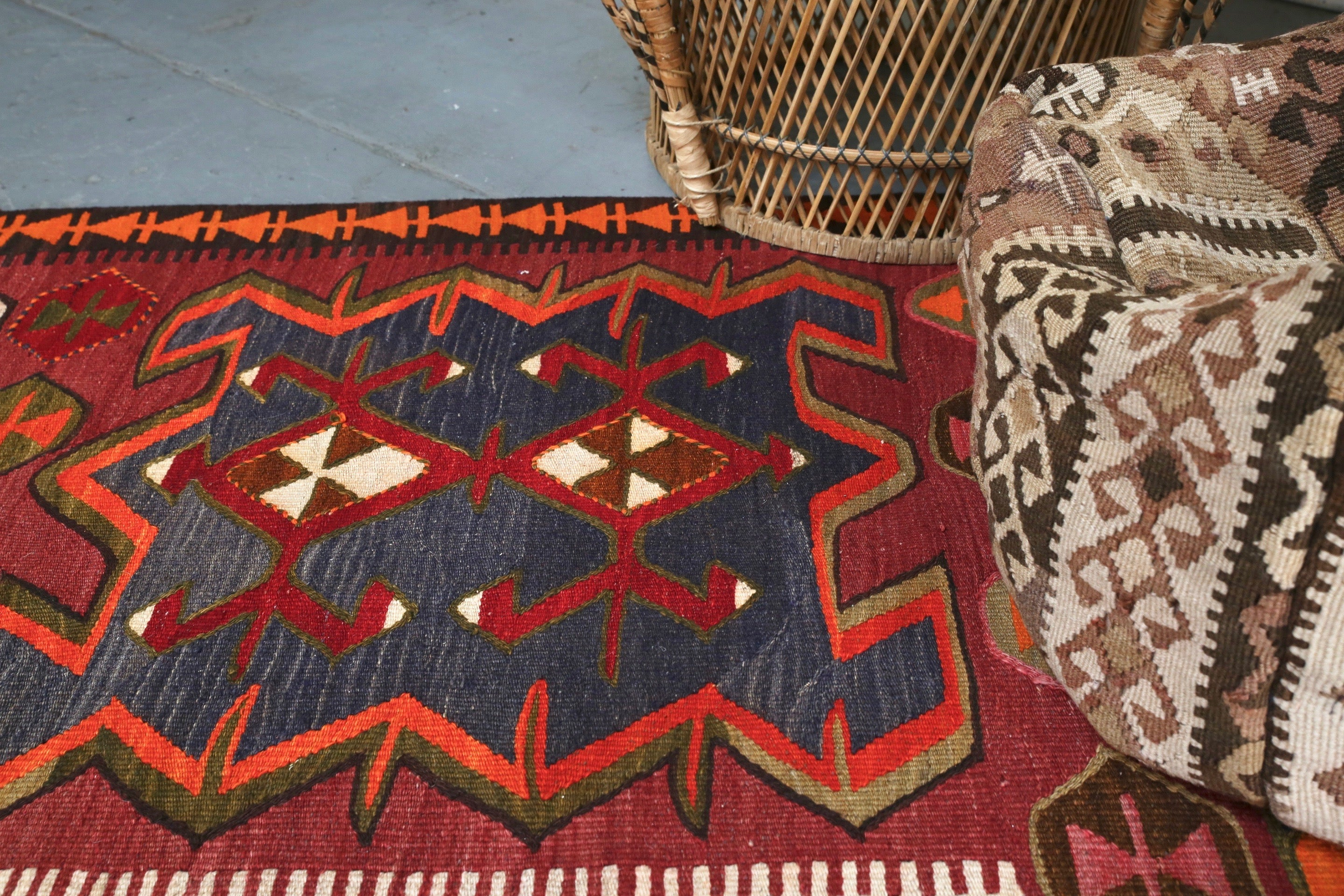 "Vintage Turkish Erzurum Kilim 5'2""x11'8"""