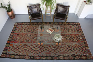Oushak kilim, brown, antique rug, portland rug store, flat weave, rustic rug, authentic rug, bohemian decor