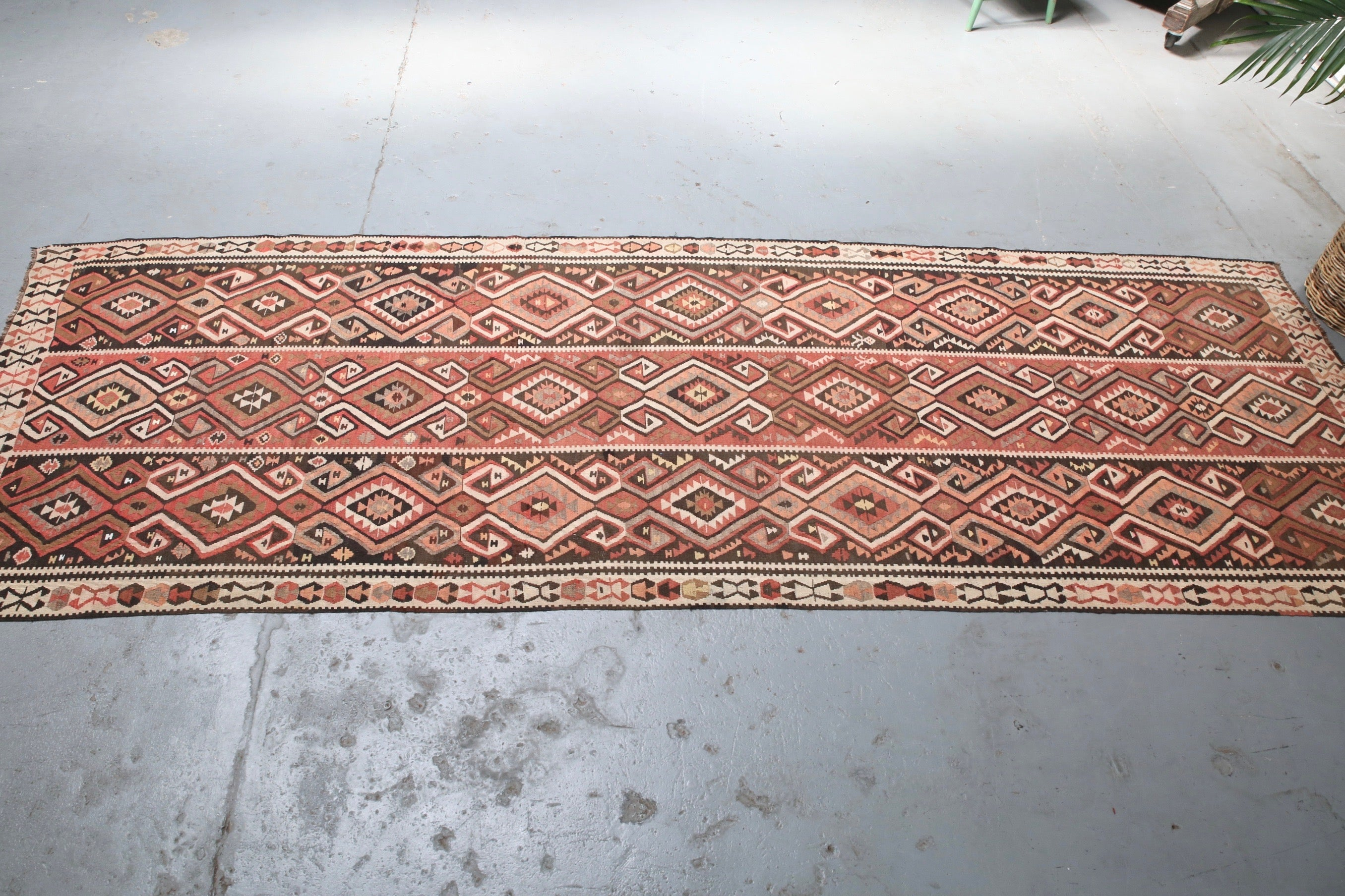 Old Van Kilim Runner 4ftx12ft
