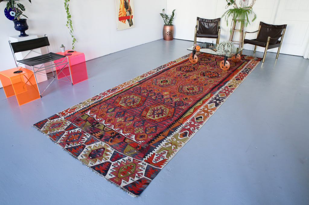 red, nigde kilim, old kilim rug, antique rugs, turkish rug, portland rug store, flat weave, large area rug