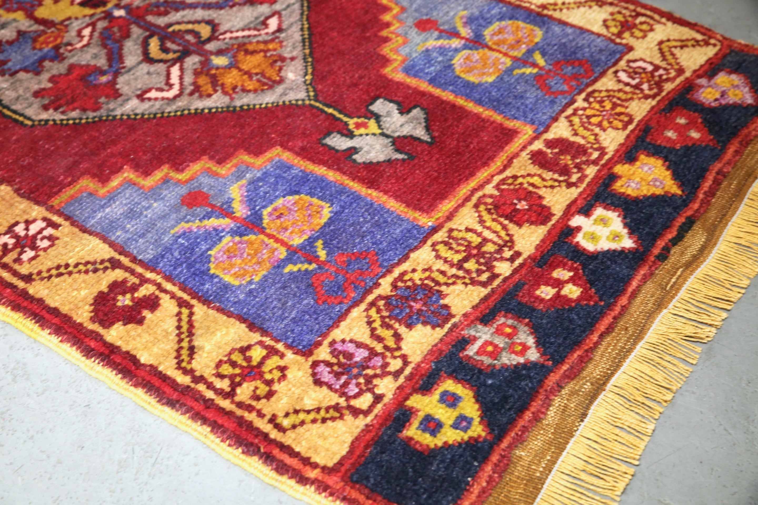 Old Mini Turkish Rug 21inx46in