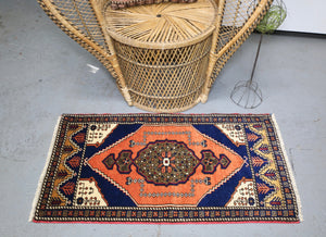 Vintage Mini Turkish Rug 22inx41in