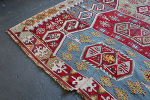 "Old Turkish  Sivrihisar Kilim Rug 5'3""14'"