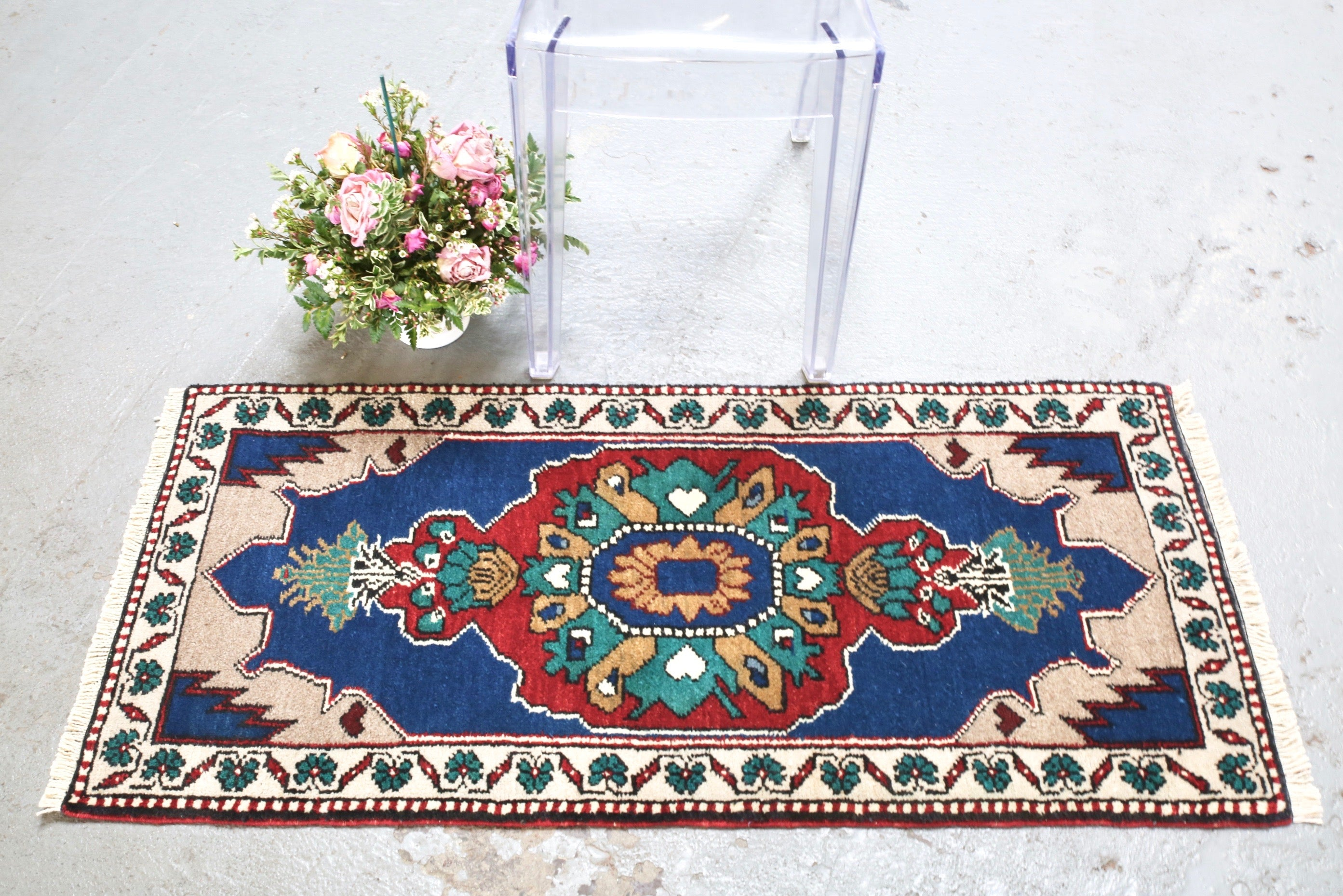 Vintage Mini Turkish Rug 21inx48in