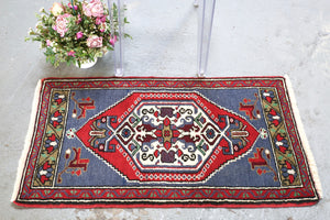 Vintage Mini Turkish Rug 21inx39in