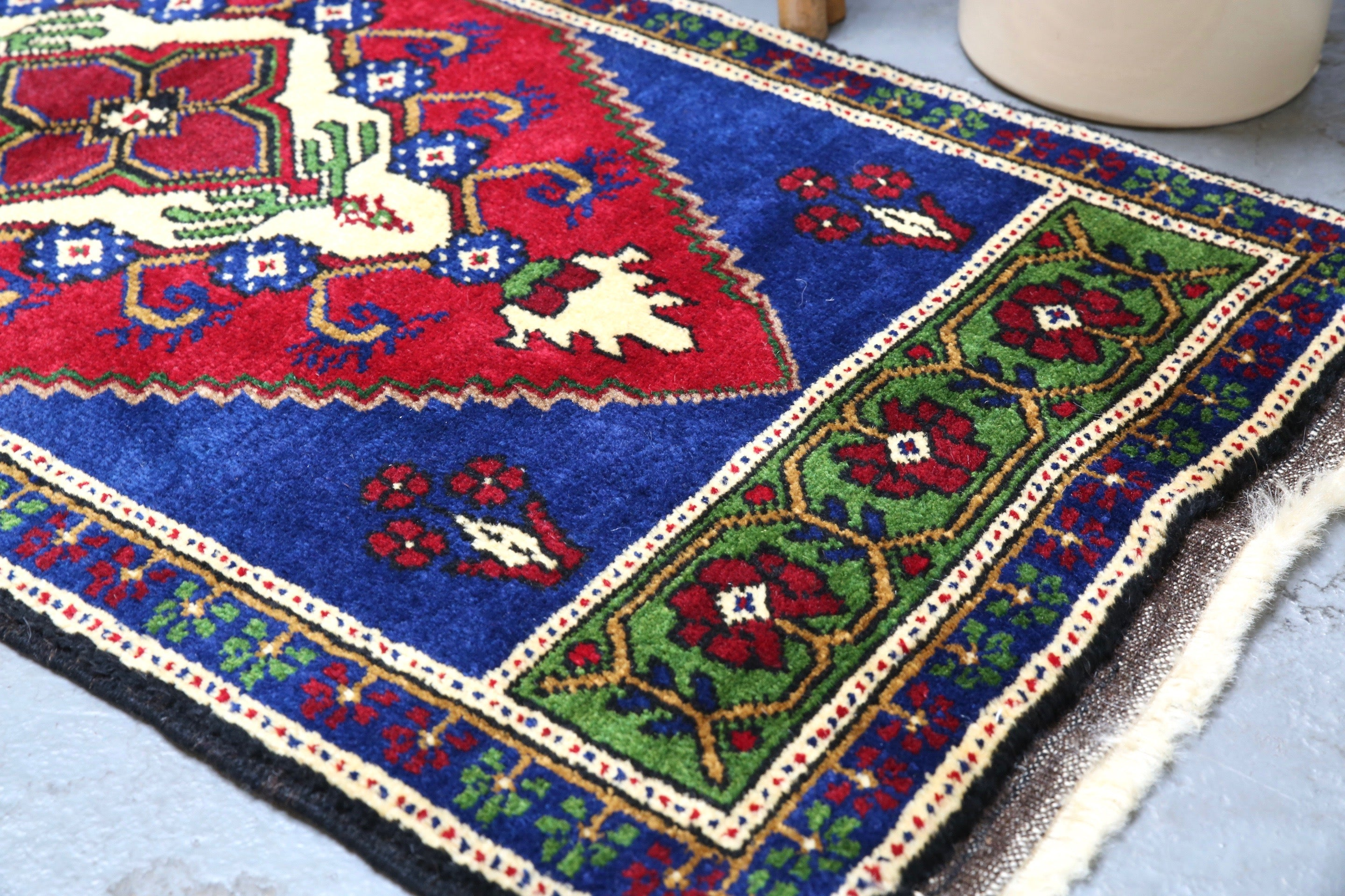 Vintage Mini Turkish Rug 22inx44in