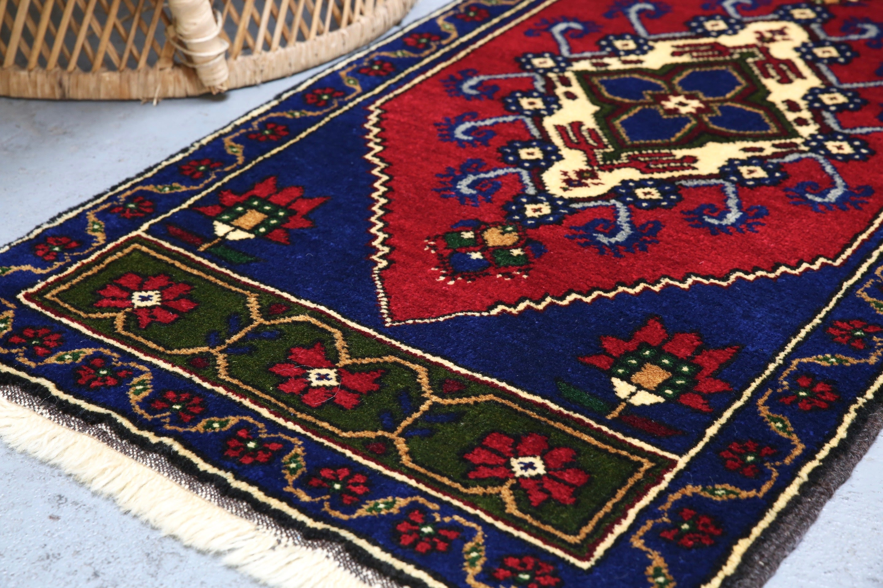 Vintage Mini Turkish Rug 22inx45in
