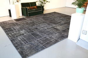 Vintage Patchwork Isparta Rug overdyed in Black 10ftx13ft