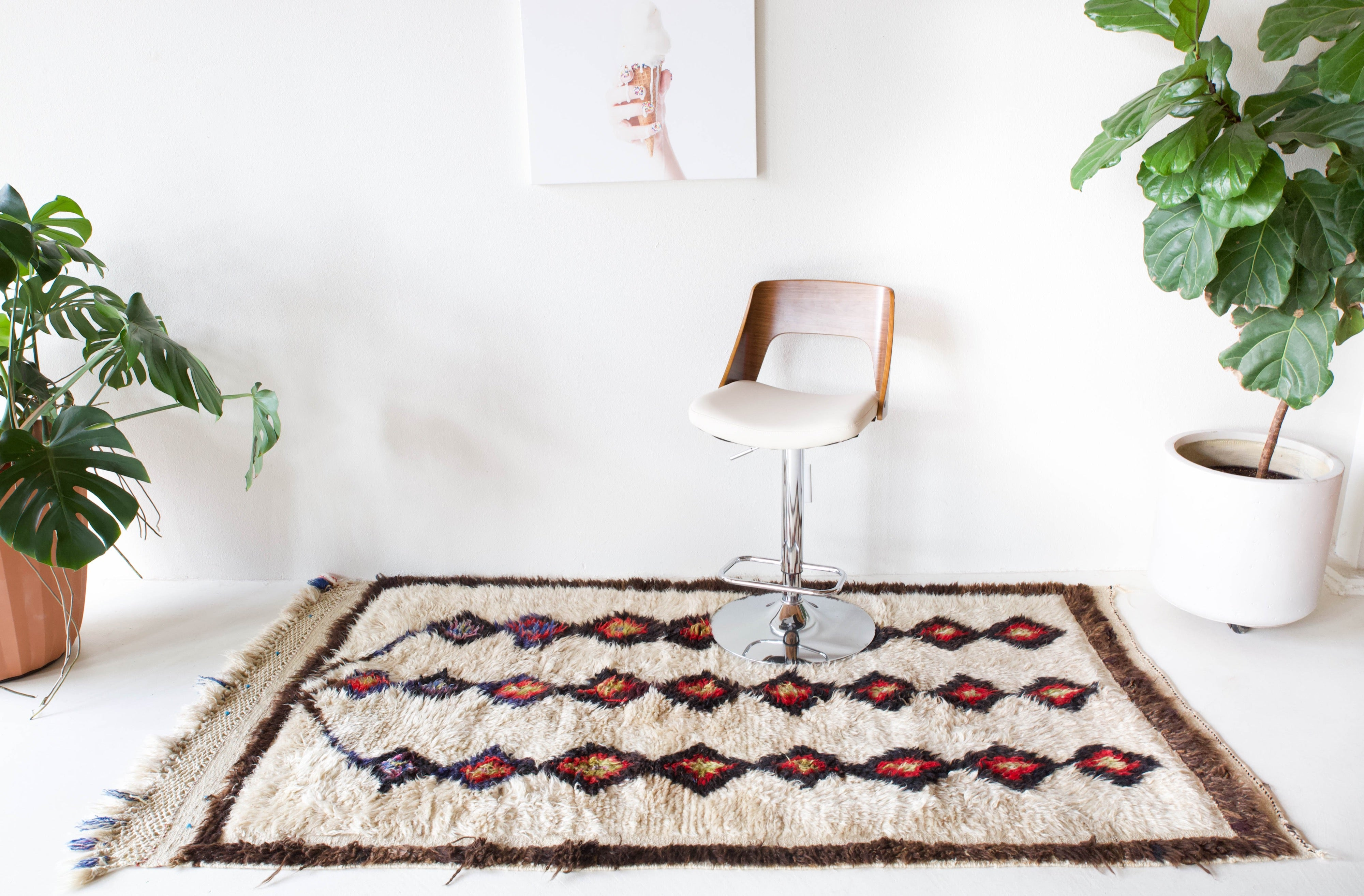 Area rug in a living room setting, pile rug, Turkish rug, custom rug, , new rug, modern rug, customizable rug, made to order rug, portland, rug shop, bright colors, wild shaman, soft rug, bold color, Portland, Oregon, rug store, rug shop, local shop, made in Turkey