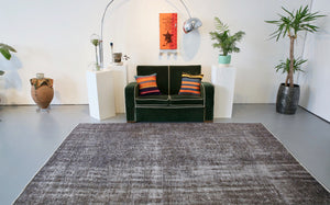 Vintage Overdyed Isparta Rug in Dark Gray 6.2ftx9.2ft