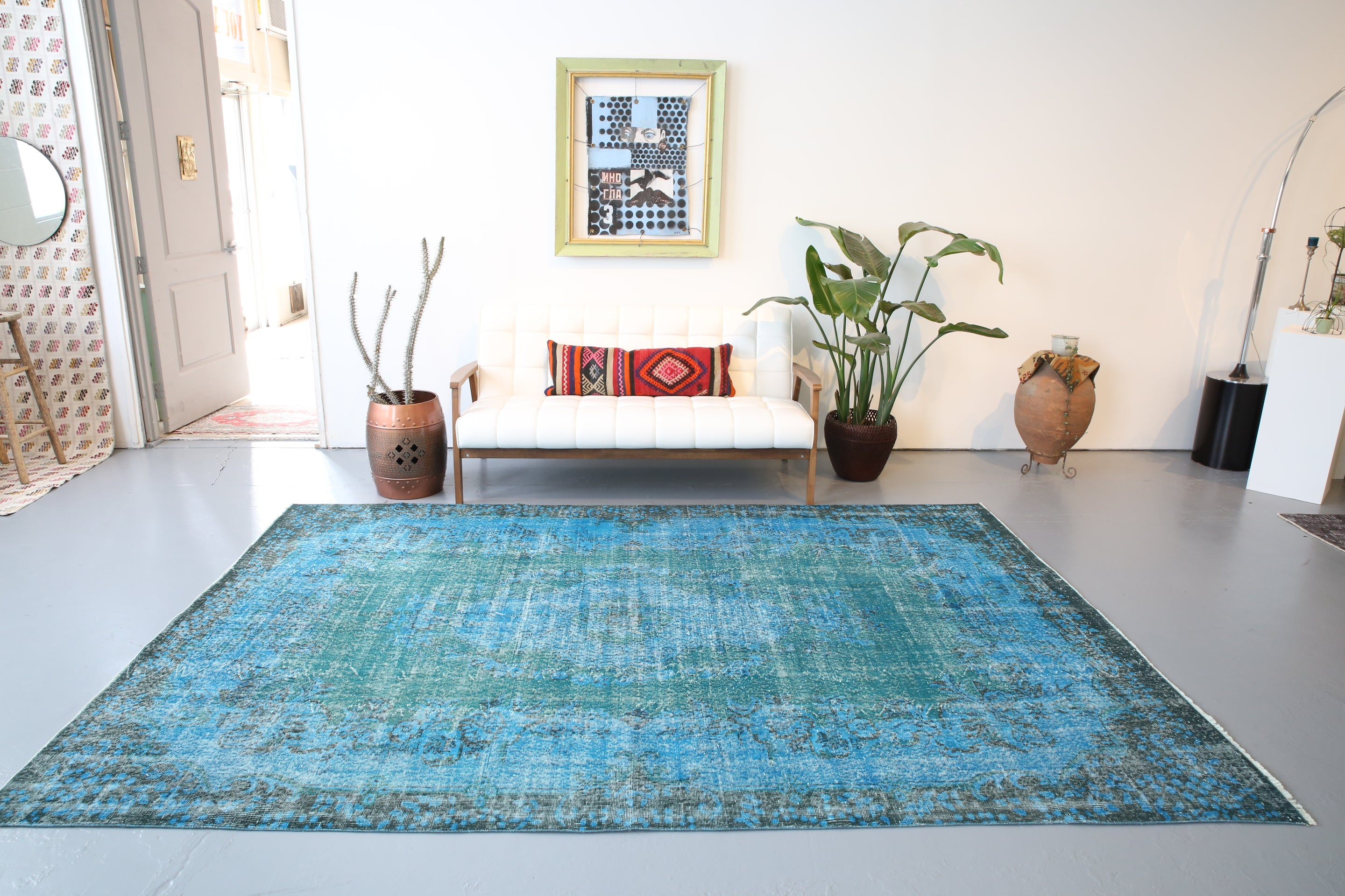 Vintage Overdyed Isparta Rug in Blue 6.8ftx10ft