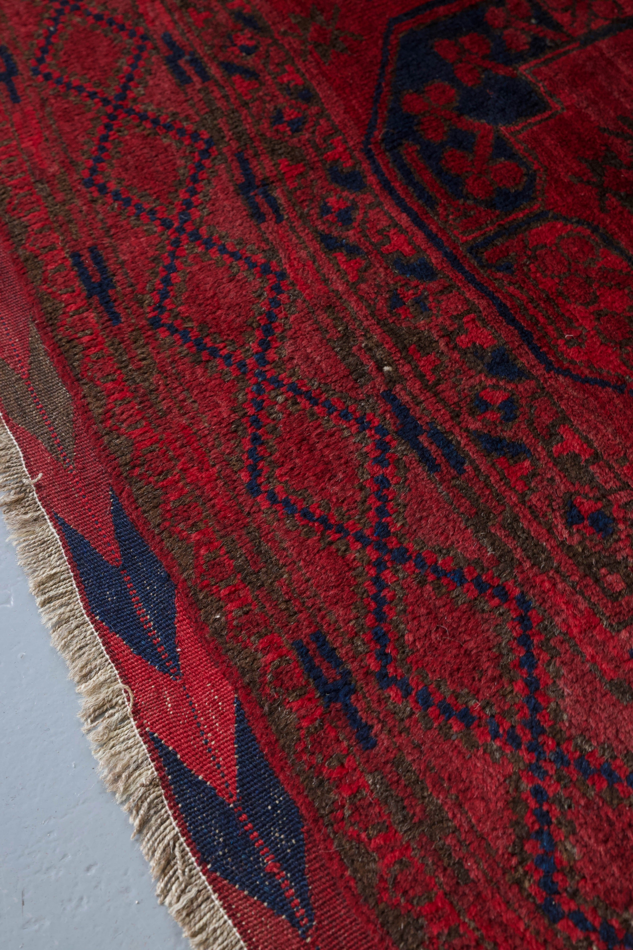 Antique Afghan Turkmen Rug 7' x 11'9""