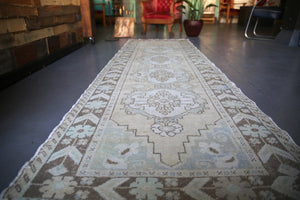 Vintage Faded Anatolian Turkish Runner Rug 3.2ftx10ft