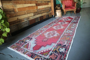 Vintage Faded Anatolian Turkish Runner Rug 3ftx9ft