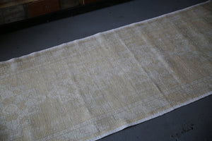 Vintage Faded Anatolian Turkish Runner Rug 3ftx8.8ft