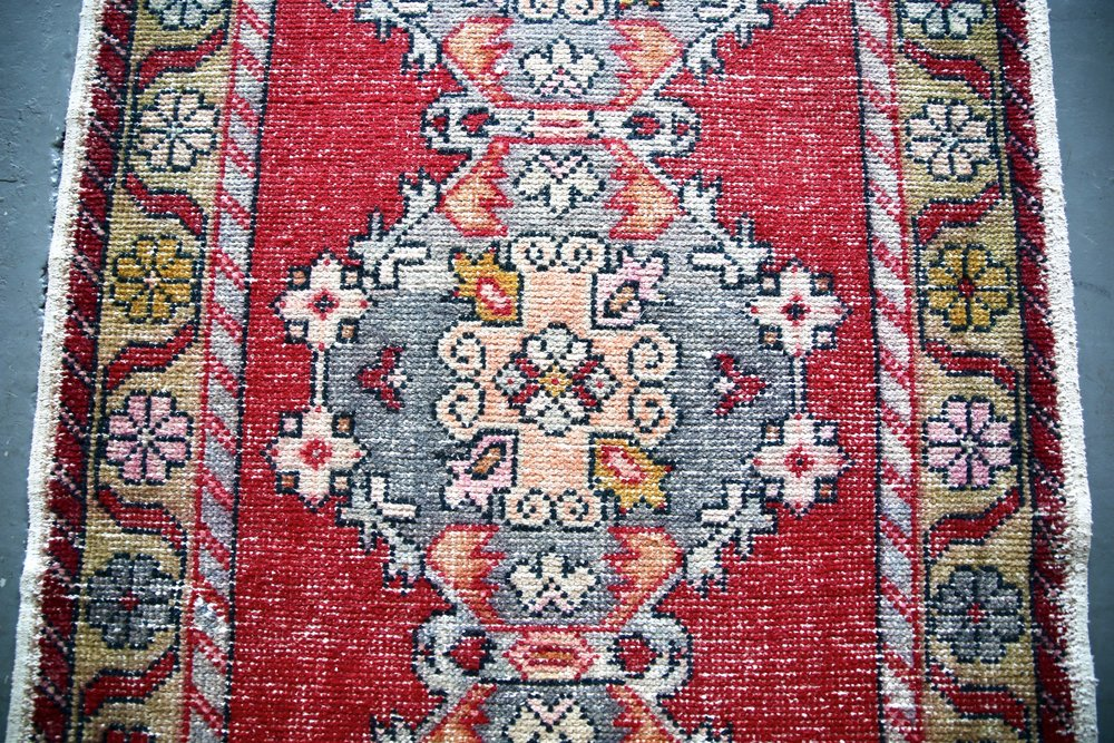 Vintage Faded Anatolian Turkish Runner Rug 3.4ftx9.9ft