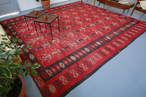 red, balkan kilim, pilot kilim, kilim rug, large area rug, antique rug, turkish rug, flat weave rug, portland rug shop, wild shaman