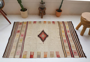Vintage kilim rug in room decor setting, old rug, antique rug, pastel colors, faded colors, Turkish rug, vintage rug, soft rug, Portland, Oregon, rug store, rug shop, local shop, antique rug