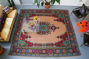 large area rug, kilim rug, flat weave, turkish rug, turkic rug, portland rug store, orange