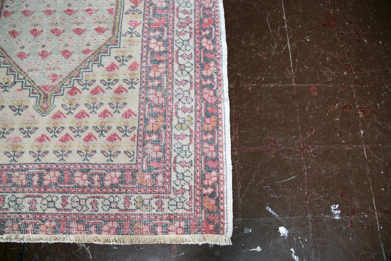 Vintage Faded Anatolian Rug 4.5ftx7.3ft