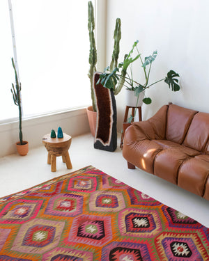 Vintage kilim rug in living room setting, bright colors, wild shaman, soft rug, bold color, Portland, Oregon, rug store, rug shop, local shop, vintage rug, modern kilim