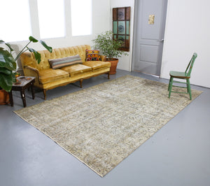 Vintage Overdyed Isparta Rug in Pearl 6.5ftx10.6ft