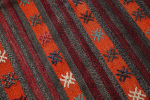 orange, brown, striped, old rug, vintage kilim, flat weave, antique, oushak rug, portland rug shop, rug store, wild shaman