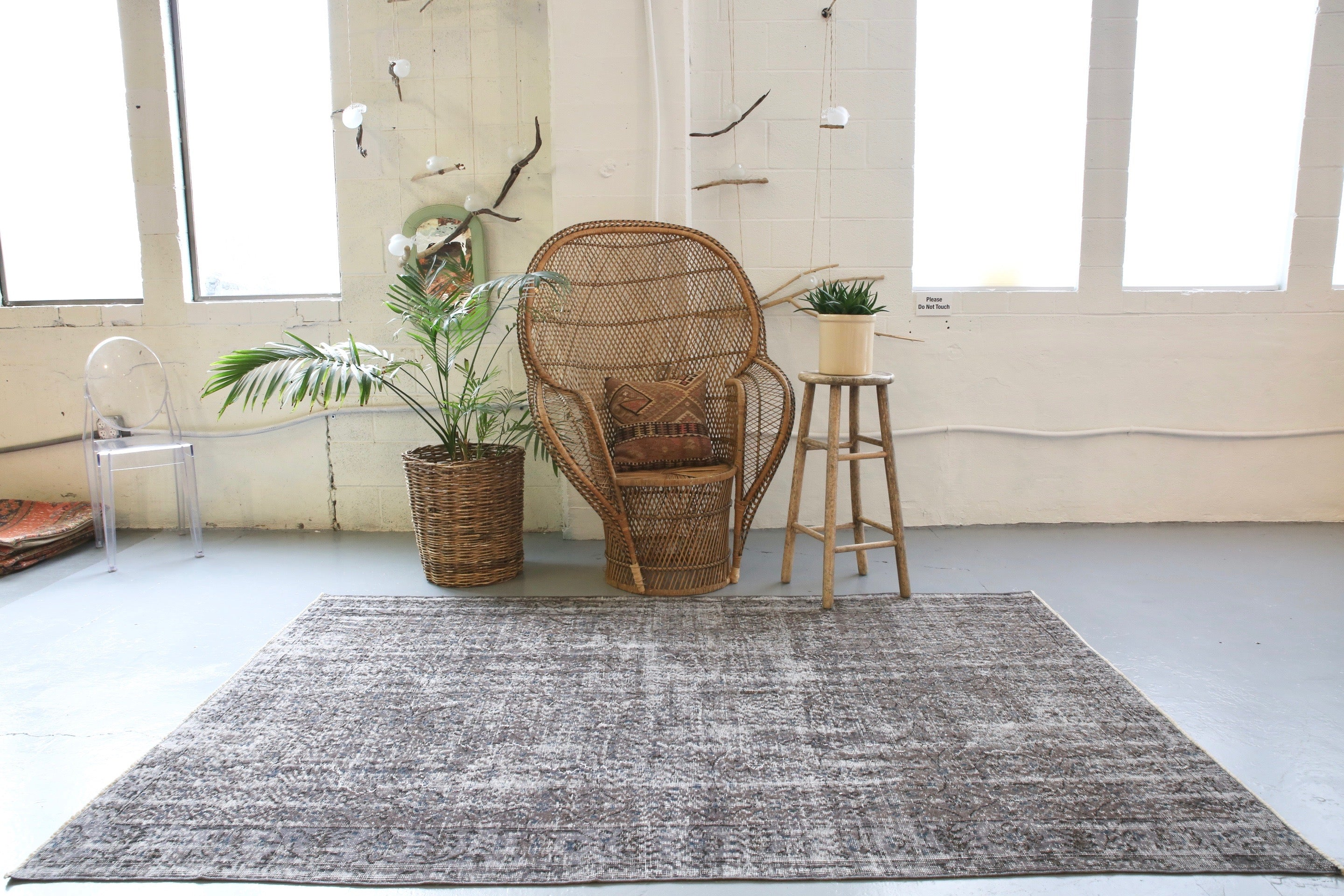 Vintage Overdyed Isparta Rug in Ash 5ftx8ft