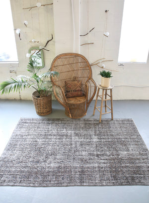 Vintage Turkish  Overdyed Isparta Rug in Ash 5' x 8'