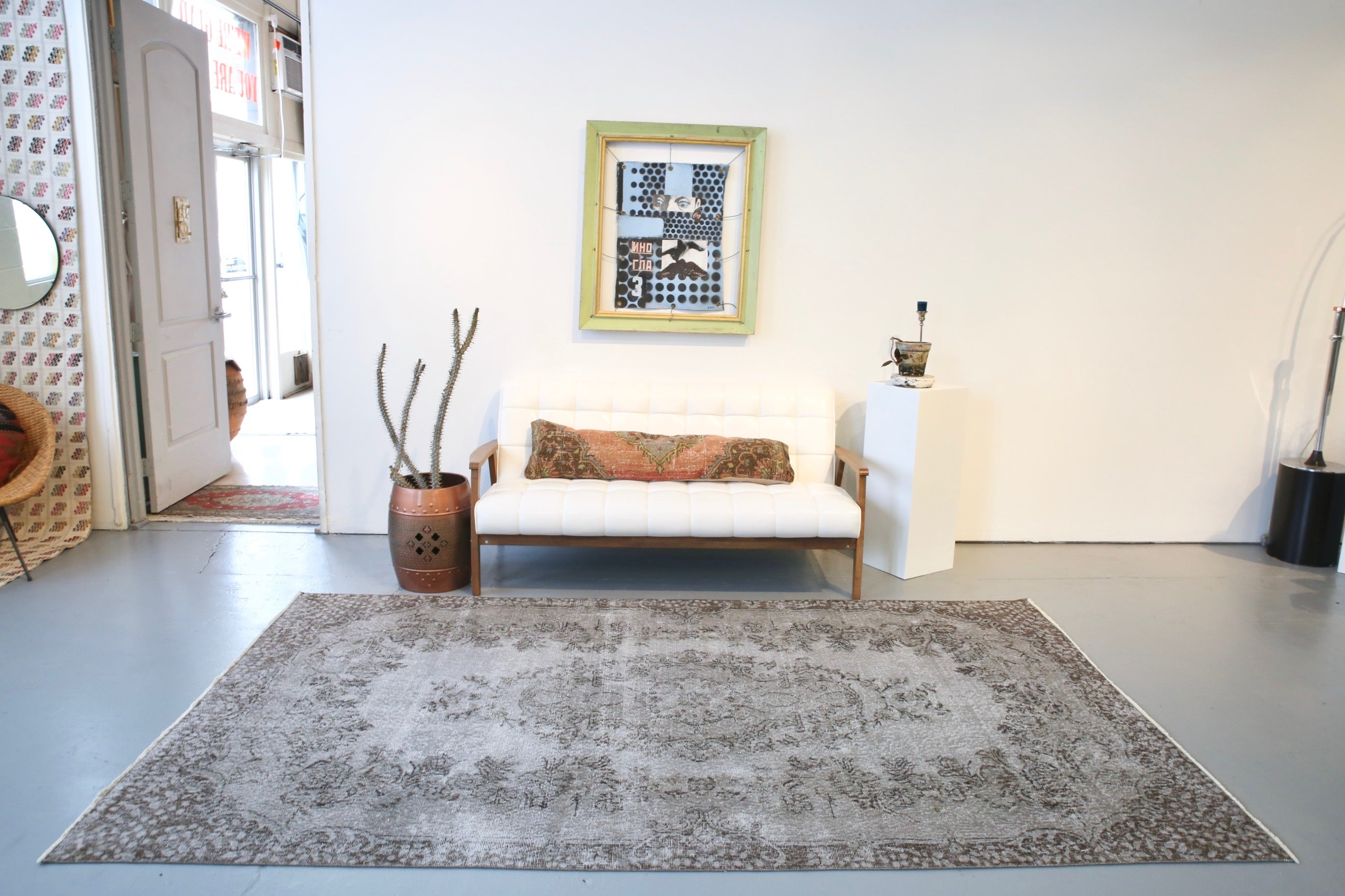 Vintage Overdyed Isparta Rug in Mid Gray 5.7ftx9.7ft
