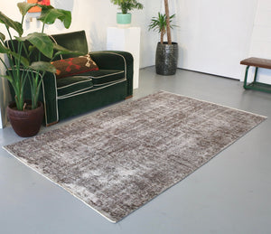 Vintage Overdyed Isparta Rug in Mid Gray 4.7ftx7.10ft