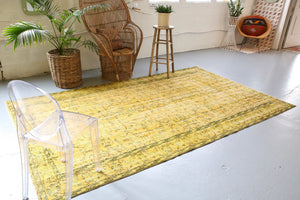 Vintage Overdyed Isparta Rug in Mint Lemon 6ftx10ft
