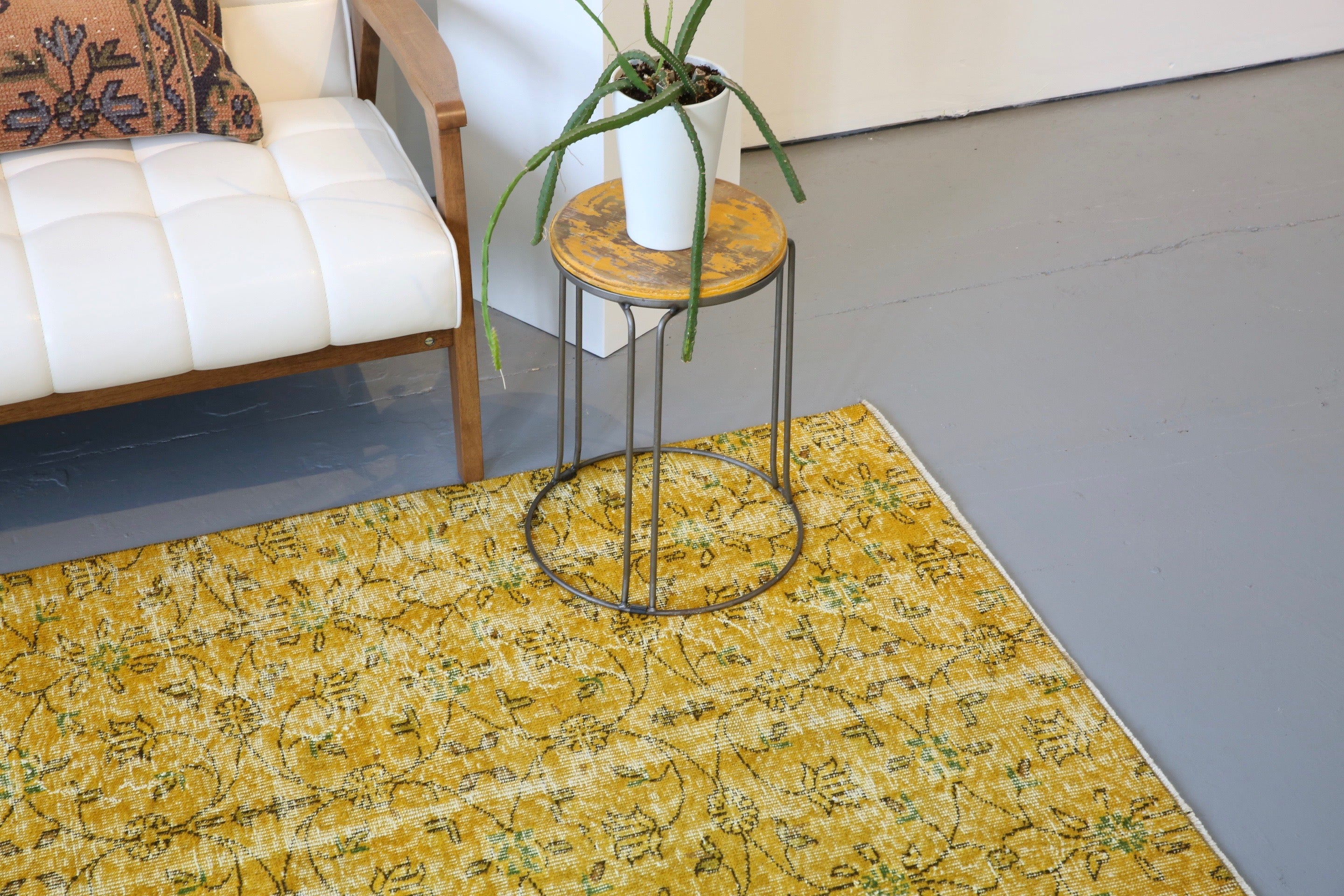 Vintage Overdyed Isparta Rug in Meyer Lemon 5.9ftx8.10ft