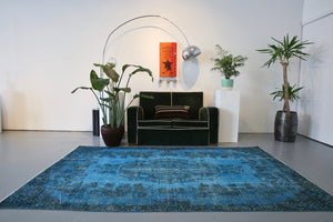 Vintage Overdyed Isparta Rug in Deep Blue 5.5ftx8.7ft