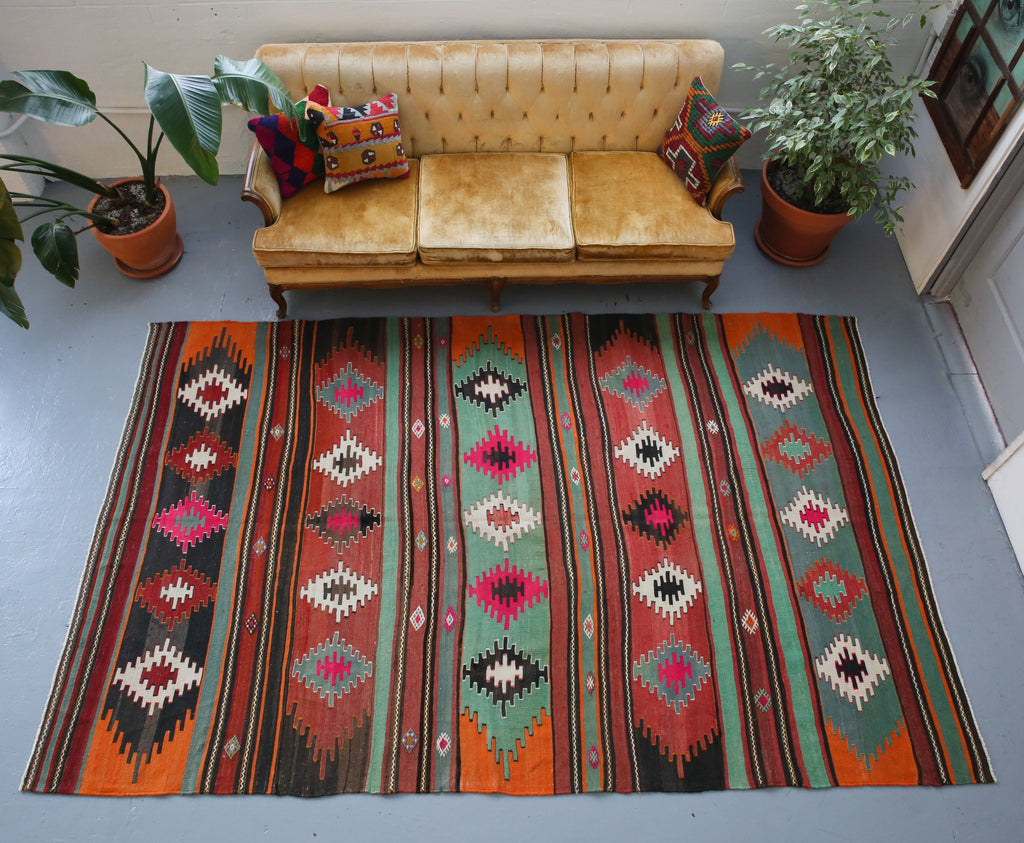 orange, green, bright color, antique, oushak rug, portland rug shop, rug store, wild shaman, cicim rug
