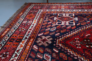 Old Persian Shiraz Rug 7.7ftx10ft