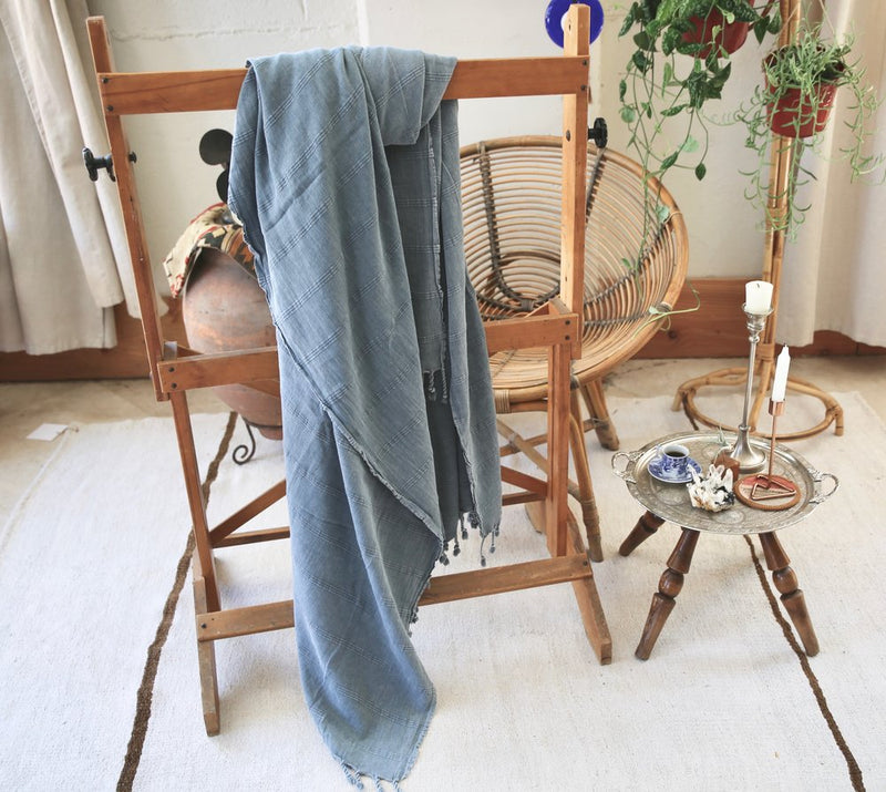 Rustic Large Pestemal Throw in Faded Blue