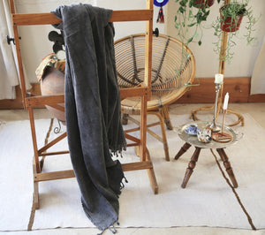 Rustic Large Pestemal Throw in Black Stone