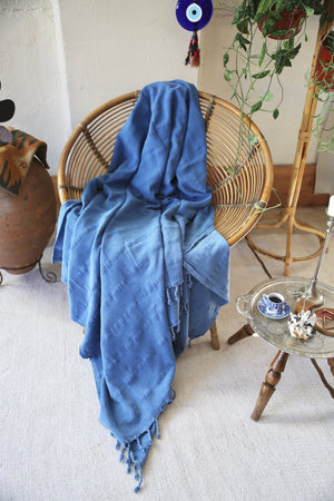 Rustic Large Pestemal Throw in Indigo