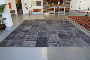 Vintage Patchwork Isparta Rug overdyed in Ash 12.4ftx12.4ft