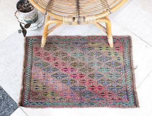 "Vintage Mini Turkish Kilim Rug 20.5""x30"""