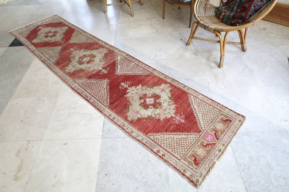 Vintage faded Turkish Anatolian Runner Rug