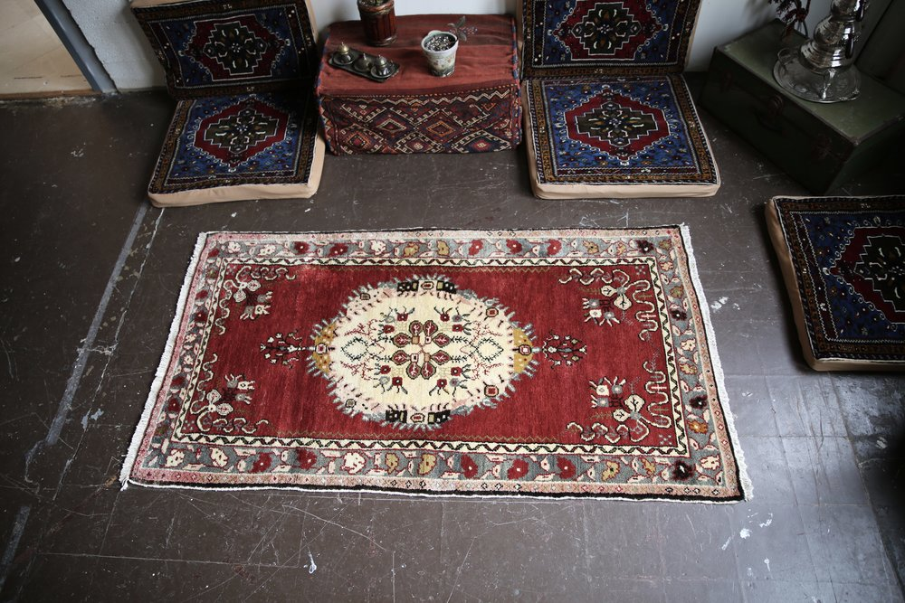 Vintage Turkish Southern Anatolian Rug 3.9ftx7ft