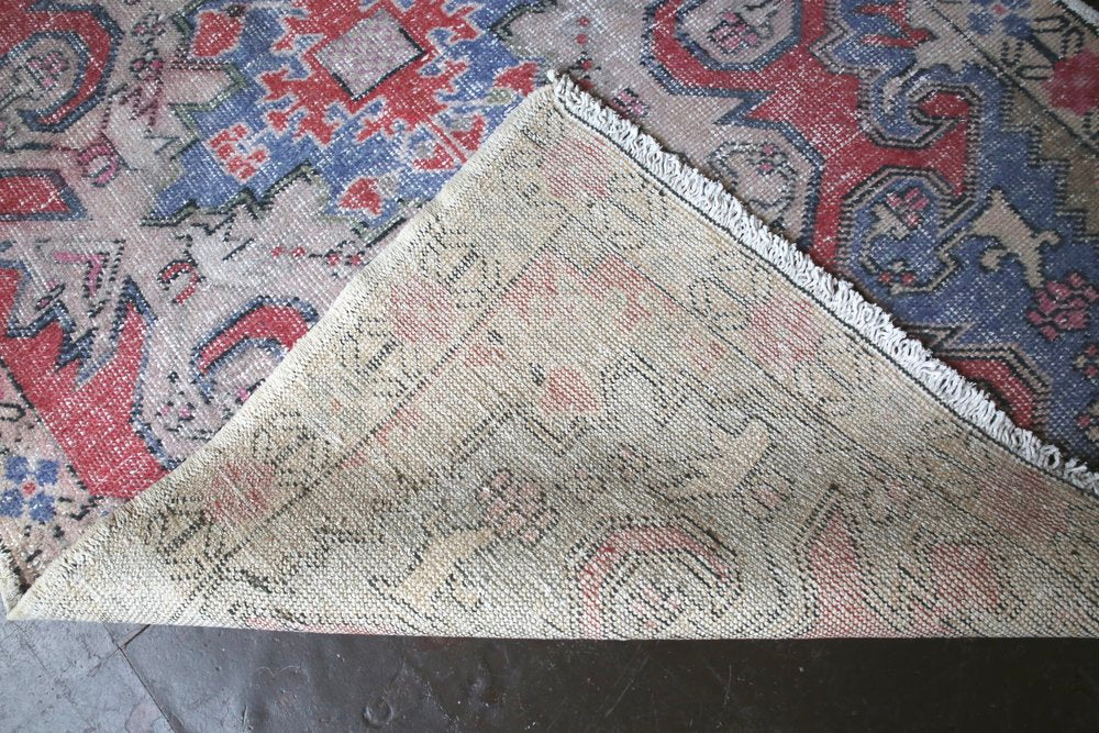 Vintage Faded Anatolian Rug 4.4ftx7.2ft