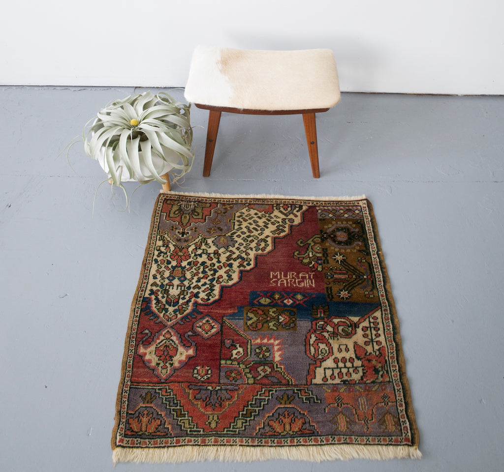 Vintage Mini Square Turkish Rug